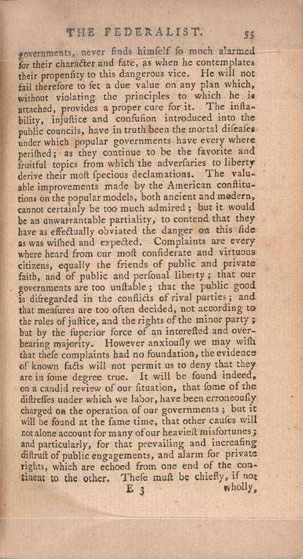 "essay number 10 federalist james madison Federalist paper #10 is one essay in a series of papers written mostly by james madison, john jay, and alexander hamilton, fighting for the ratification of the united states constitution in federalist paper #10 james madison addresses the issue of ""how to guard against factions."