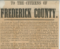 """To the Citizens of Frederick County,"" 1861, Broadside, 1861 .M36 BOX, Special Collections, Library of Virginia.,"