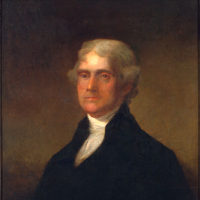 Elder, John A., Thomas Jefferson (1743–1826). Oil painting on canvas, 30 x 25 in., Original by Gilbert Stuart. Virginia State Artwork Collection. Acquired 1887.