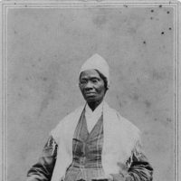 Sojourner Truth, three-quarter-length portrait, standing, wearing spectacles, shawl, and peaked cap, right hand resting on cane, Library of Congress Manuscript Division, Sojourner Truth Collection (MMC). http://hdl.loc.gov/loc.pnp/cph.3c19343