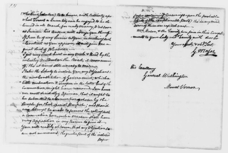 Education From Lva George Mason Letter To George Washington