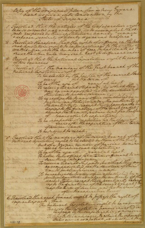 a history of the virginia plan in 1787 Ourdocumentsgov featuring 100 milestone documents of american history from the  1787, virginia delegate edmund randolph  the virginia plan went through.