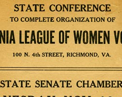 Organization of the Virginia League of Women Voters, November 10, 1920