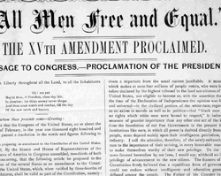 The Fifteenth Amendment to the United States Constitution, October 8, 1869