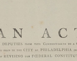 Act for Appointing Deputies to the 1787 Philadelphia Convention, November 23, 1786