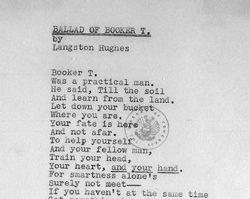 The Ballad of Booker T., by Langston Hughes, June 1, 1941