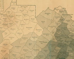 1861 map showing distribution of Virginia's slave population