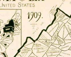 "Map of Virginia—""Wet"" and ""Dry,"" 1909"