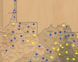 Map of April 17, 1861, Vote on Secession