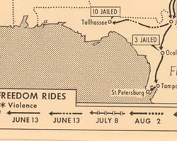 Freedom Rides Map, 1961