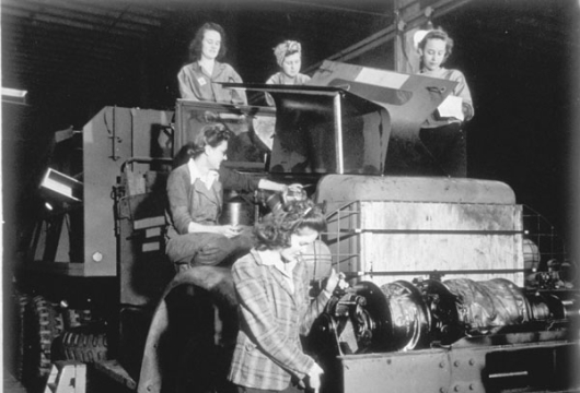 """View of Girls Processing a Hydraulic Bridge Erecting Crane, Hampton Roads Port of Embarkation, 1944,"" U.S. Army Signal Corps, Library of Virginia, Richmond, Virginia."