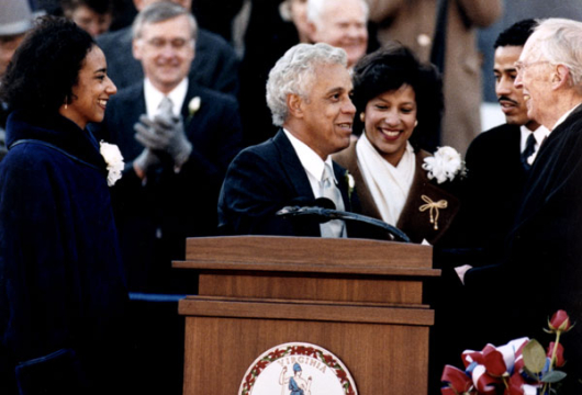 Photograph of Governor Douglas Wilder Taking the Oath of Office, 13 January 1990, Prints and Photographs, Special Collections, Library of Virginia, Richmond, Virginia.