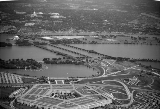 Aerial View of the Pentagon, 3 July 1951, Fairchild Aerial Survey Collection, Special Collections, Library of Virginia, Richmond, Virginia.
