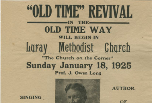 Broadside 1925 .L9 FF, [Luray, Va.: Luray Methodist Church, 1925], Special Collections, Library of Virginia, Richmond, Virginia.