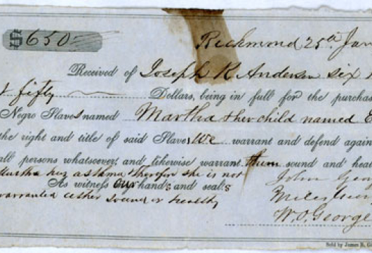 Tredegar Iron Works, Records, 1845–1865, Accession 25744, Business Records Collection, Series 7, Anderson Family Bills of Sale for Slaves, 1842–1865, Library of Virginia, Richmond, Virginia.