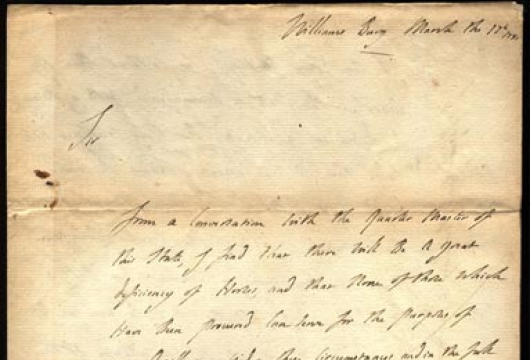 Virginia Governor (1779–1781: Jefferson), Executive Papers: Letters Received, 1779–1781, Accession 29604, State Government Records Collection, Library of Virginia, Richmond, Virginia.