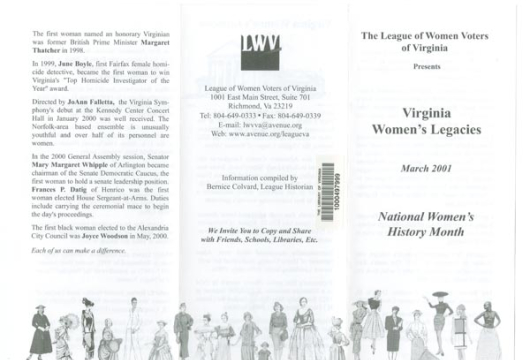 Bernice Colvard, Virginia Women's Legacies: National Women's History Month, Richmond, Va.: League of Women Voters of Virginia, [2001], HQ1438.V8 C65 2001, Library of Virginia, Richmond, Virginia.