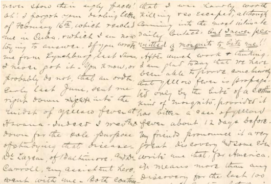 Walter Reed, Letters, 1874–1901, Accession 23783, Personal Papers Collection, Library of Virginia, Richmond, Virginia.