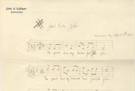 Charles Montriou Wallace Collection of Negro Melodies, 1896–1912, Accession 1, Personal Papers Collection, Library of Virginia, Richmond, Virginia.
