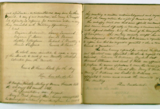 Society of Friends, Fairfax Monthly Meeting, Record Book, 1857—1871, Accession 24309a, vol. 1, Church Records Collection, Library of Virginia, Richmond, Virginia