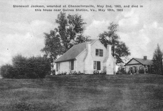 Stonewall Jackson, wounded at Chancellorsville, May 2nd, 1863, and died in this house near Guinea Station, Va., May 10th 1863 [graphic], Computer file: 2000, Virginia W.P.A. Historical Inventory Project, Library of Virginia,  Richmond, Virginia.