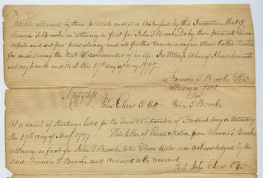 Arlington County (Virginia) Free Negro and Slave Records, 1788—1864, Local Government Records Collections, Arlington County Court Records, Library of Virginia, Richmond, Virginia.