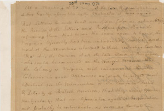 Report of a Meeting Containing the Resolution Adopted, 30 May 1774, Colonial Papers, Folder 50, Item Number 17, Record Group 1, Library of Virginia, Richmond, Virginia.