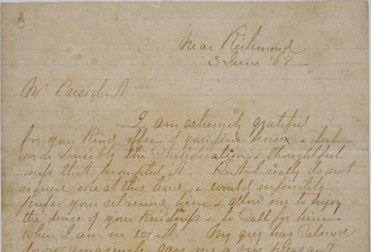 "Robert Edward Lee (1807–1870), ""Near Richmond,"" to Jefferson Davis, Richmond, Va., 3 June 1862, Robert E. Lee–Jefferson Davis Correspondence, 1862–1865, Box 345–346, Accession 23458, Library of Virginia, Richmond, Virginia."
