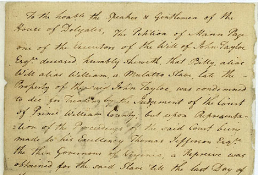 Legislative Petitions, Prince William Co., n.d. [Received 7 June 1781], Record Group 78, Library of Virginia, Richmond, Virginia.