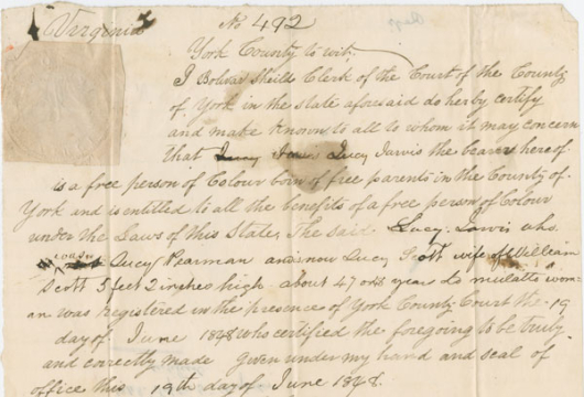 Lucy Jarvis Pearman Scott, Freedom Paper, 1848, Registrants and Freedom Papers, 1845–1865, Free Negro and Slave Records, Henrico County, Library of Virginia, Richmond, Virginia.