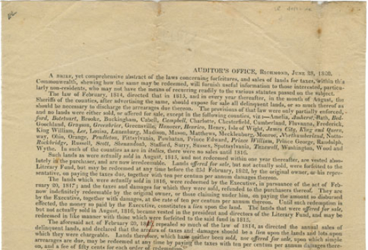 Broadside 1820 .V8 Box, Special Collections, Library of Virginia, Richmond, Virginia.