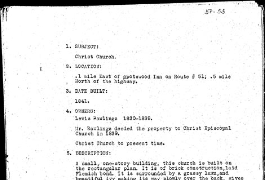 Survey Report, Christ Church: 1937 June 30 / Research Made by Sue K. Gordon, Computer file: 1998, 5 image files, Library of Virginia, Richmond, Virginia.