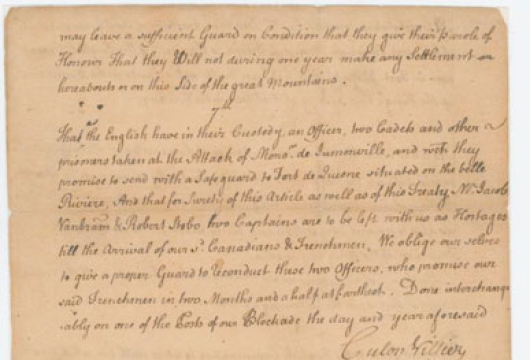 The Surrender of Fort Necessity, 3 July 1754, Manuscript Translation from the French Document, Colonial Papers, Folder 44, No. 14, Record Group 1, Library of Virginia, Richmond, Virginia.