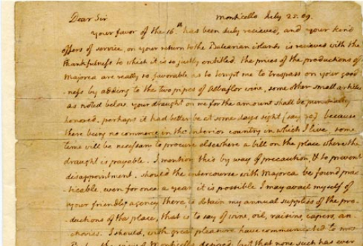 Thomas Jefferson, Letter, 25 July 1809, Accession 11, Personal Papers Collection,  Library of Virginia, Richmond, Virginia.