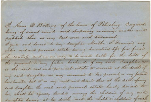 Will of Ann (or Anna) D. Bolling, Petersburg, 26 July 1842 (fair copy) Petersburg Court Cases, Chancery Causes, Accession 37621, Box 55, 1848-012–1848-019 [1848-014], Library of Virginia, Richmond, Virginia.