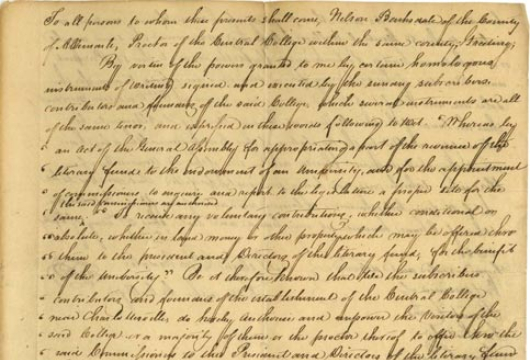 Virginia General Assembly, House of Delegates, Speaker, Executive Communications, Letter, Report, Proceedings, and Deed, 1818 December 8, Accession 36912, State Government Records Collection, Library of Virginia, Richmond, Virginia.