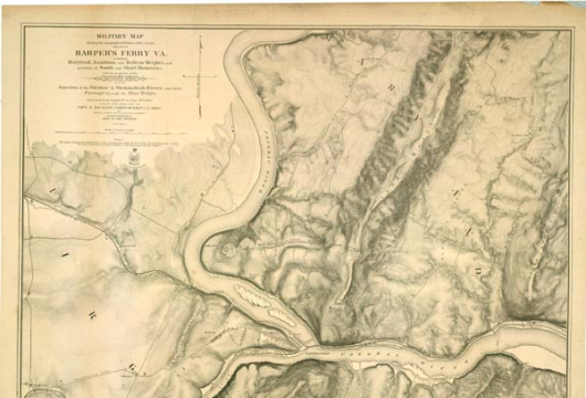 J. E. Weyss, <em>Military Map Showing the Topographical Features of the Country Adjacent to Harper's Ferry Va</em>. . . . [Washington, D.C.?]: Engineer Department, Army of the Potomac, [1863?], G3894.H25S5 1863 .W4, Library of Virginia, Richmond, Virginia.