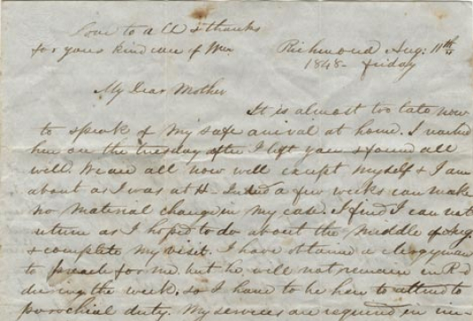 William Norwood, Letter, 11 August 1848, Accession 37744, Personal Papers Collection, Library of Virginia, Richmond, Virginia.