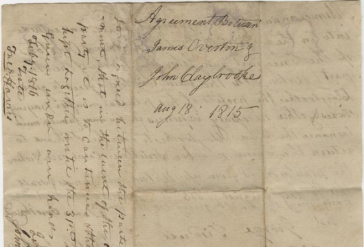 James Overton, Agreement, 18 August 1815, Accession 40544, Personal Papers Collection, Library of Virginia, Richmond, Virginia.
