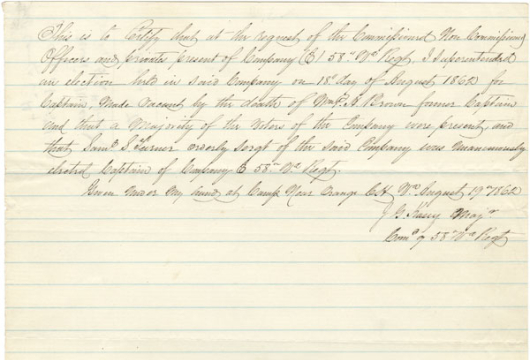 John G. Kasey, Election Return, 19 August 1862, Accession 40880, Personal Papers Collection, Library of Virginia, Richmond, Virginia.