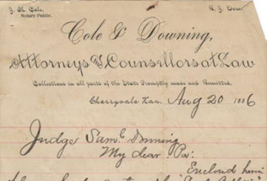 Downing Family, Letters, 1883–1886, Accession 22035, Personal Papers Collection, Library of Virginia, Richmond, Virginia.