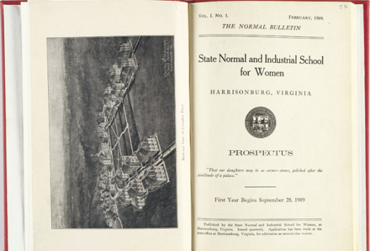 State Normal and Industrial School for Women, <em>The Normal Bulletin</em>, Harrisonburg: State Normal and Industrial School for Women, Printed by Daily News Print, 1909, LB1972.H31 A2, Library of Virginia, Richmond, Virginia.