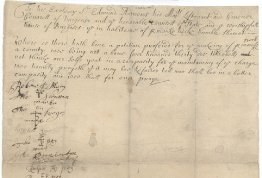 Virginia (Colony), Colonial Papers, Petition of Inhabitants of Pamunkey Neck, 1696 October 1, Accession 36138, State Government Records Collection, Library of Virginia, Richmond, Virginia