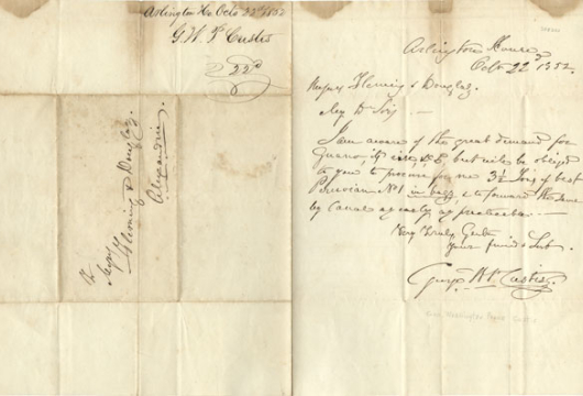 George Washington Parke Custis, Letter, 22 October 1852, Accession 42370, Personal Papers Collection, Library of Virginia, Richmond, Virginia.