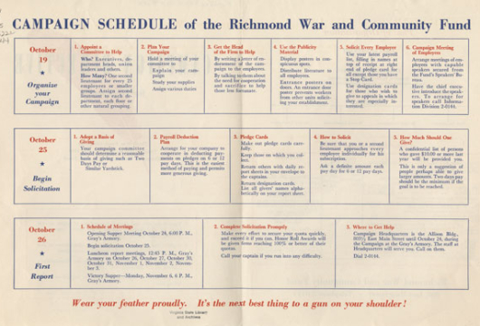 Richmond War and Community Fund (Virginia), Campaign Directive for Lieutenant: Third War Fund Campaign, October 24th to November 6th, 1944 Richmond War and Community Fund (Richmond: The Fund, 1944), HV99. R5 R5222 1944, Library of Virginia, Richmond, Virginia.
