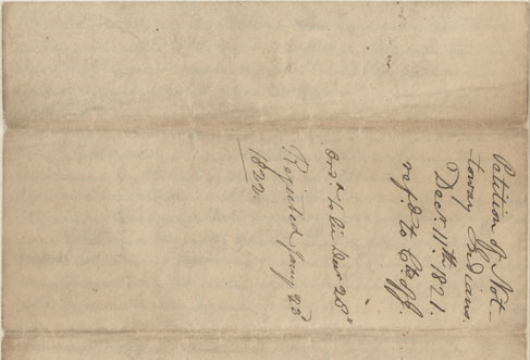 General Assembly, Legislative Petitions, Southampton County (received 11 December 1821), Box 234, Folder 71, Record Group 78, Library of Virginia, Richmond, Virginia.