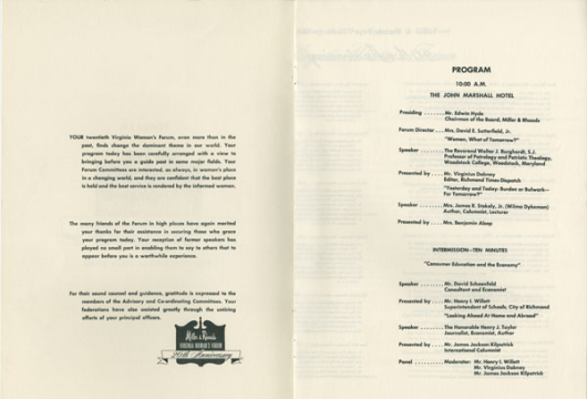 Virginia Woman's Forum Programs, 1949–1976, Accession 29300, Organization Records, Library of Virginia, Richmond, Virginia.