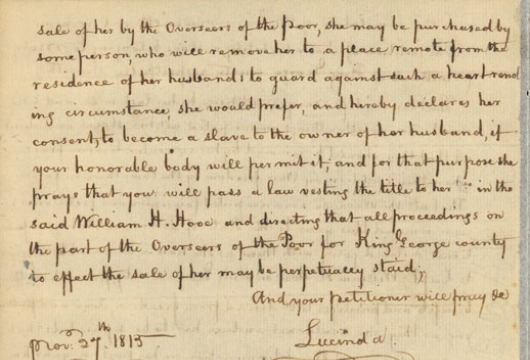 Petition of Lucinda, 20 December 1815 (received), Manuscript, Record Group 78, Legislative Petitions, King George County, Box 133, Folder 44, Library of Virginia, Richmond, Virginia.