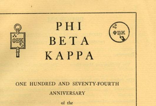 Phi Beta Kappa: One Hundred and Seventy-Fourth Anniversary of the Alpha of Virginia, Phi Beta Kappa Memorial Hall, <em>The College of William and Mary, December 5, 1950, 8:15 P.M.</em> [program], LJ75.P29 W7 1950, Library of Virginia, Richmond, Virginia.