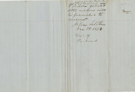 William Breedlove, Pardon Papers, 19 December 1863, John Letcher Executive Papers, Record Group 3, Library of Virginia, Richmond, Virginia.